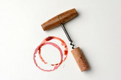 Vinilo Mancha de vino y sacacorchos antiguos