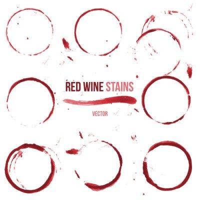 Vinilo Manchas de vino rojo sobre fondo blanco