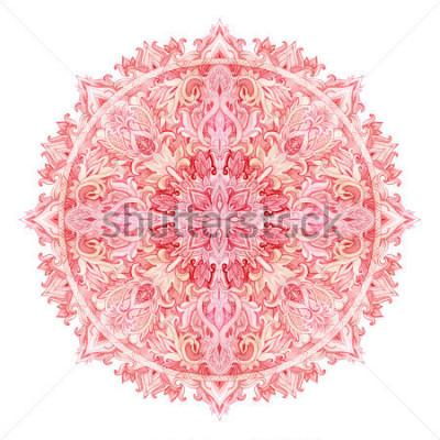 Vinilo Mandala de acuarela. Patrón dibujado a mano en estilo oriental. Patrón de encaje ornamental para diseño en estilos tribales y boho. Cordón tradicional aislado en el fondo blanco.