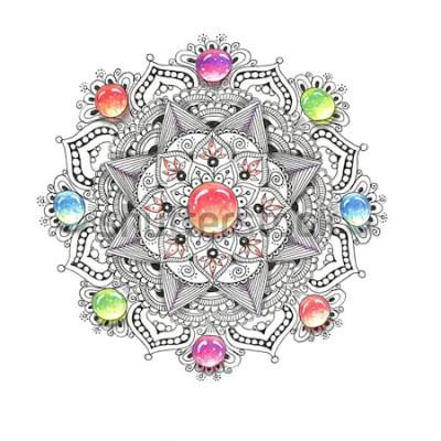 Vinilo Mandala de colores acuarela con piedras de joya. Patrón redondo hermoso vintage. Dibujado a mano de fondo abstracto. Invitación, camiseta estampada, invitación de boda. Decoración para su diseño en es