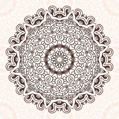 Vinilo Mandala ronda en el vector. Gráfico de la plantilla para su diseño.
