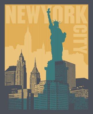 Vinilo Manhattan, ciudad de Nueva York, ilustración silueta