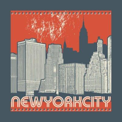 Vinilo Manhattan, ciudad de Nueva York, silueta ilustración