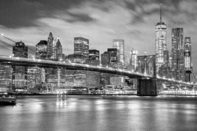 Vinilo Manhattan y puente de Brooklyn en blanco y negro, Nueva York
