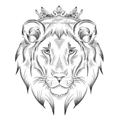 Vinilo Mano de dibujo étnico cabeza del león llevaba una corona. Totem / diseño del tatuaje. Uso para la impresión, los carteles, las camisetas. Ilustración del vector