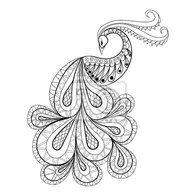 Mano de pavo real dibujado para colorear antiestrés página con ...