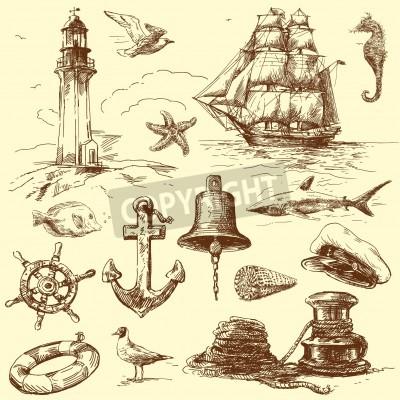 Vinilo mano dibujada colección náutica