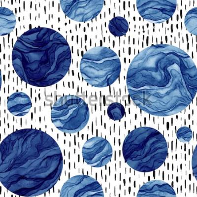 Vinilo Mano dibujada de patrones sin fisuras de acuarela círculos azules profundos. Textura de mármol