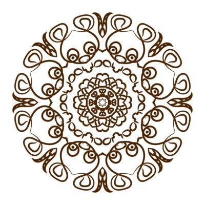 Vinilo Mano dibujada mandala de tatuaje de henna. Vector ornamento de encaje.