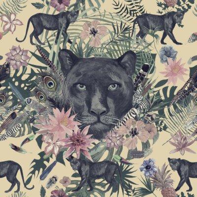 Vinilo Mano inconsútil dibujada patrón de acuarela con pantera, flores, plumas, flores.