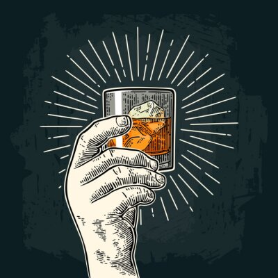 Vinilo Mano masculina que sostiene el whisky de cristal con el rayo