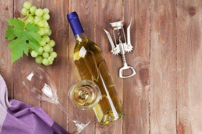 Vinilo Manojo de uvas, vino blanco y sacacorchos