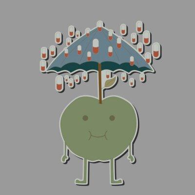 Vinilo Manzana con paraguas y tabletas de lluvia