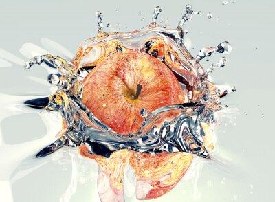 Vinilo Manzana faling y salpicaduras en el agua