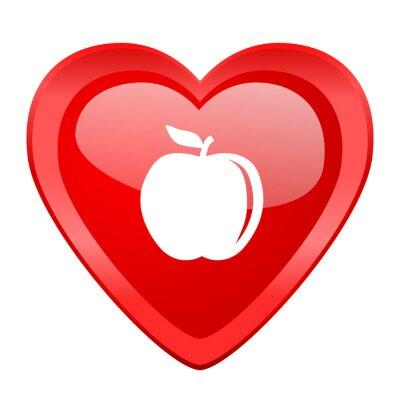 Vinilo Manzana rojo corazón valentine brillante web icono