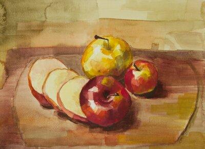 Vinilo Manzanas en la tabla de cortar todavía vida acuarela pintura