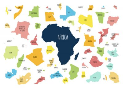 Vinilo Map of Africa with separated countries.