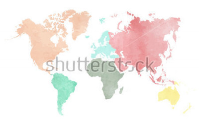 Vinilo Map of the continental world in watercolor in six different colors