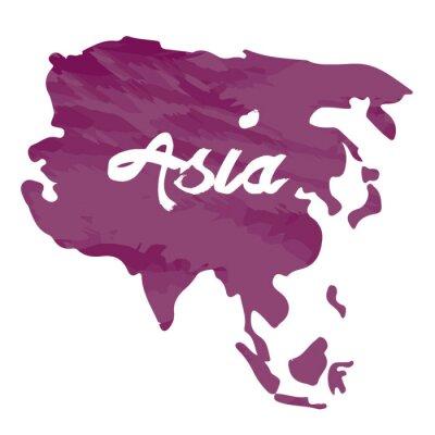 Vinilo Mapa aislado de Asia sobre un fondo blanco, ilustración vectorial