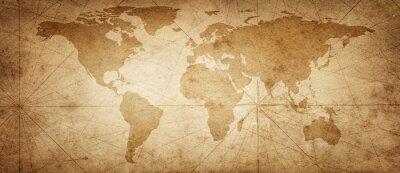 Vinilo Mapa antiguo del mundo sobre un fondo antiguo pergamino. Estilo vintage. Elementos de esta imagen proporcionada por la NASA.