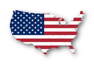 Vinilo Mapa de alta resolución de los EE.UU. con la bandera americana. Se puede quitar fácilmente las sombras, o para llenar el mapa con un color diferente - camino de recortes incluido.