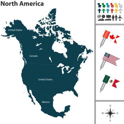 Vinilo Mapa de América del Norte