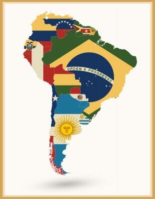Vinilo Mapa De América Del Sur Con Banderas Y Colores Vintage