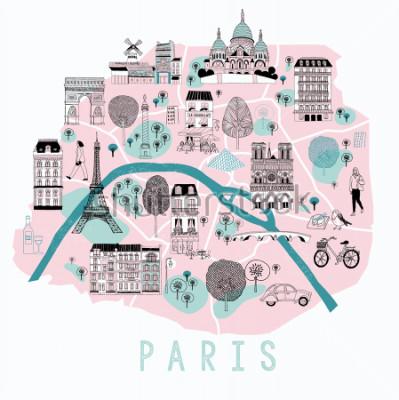 Vinilo Mapa de dibujos animados de París con los iconos de la leyenda. Diseño de impresión