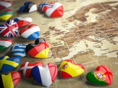 Vinilo Mapa de Europa y de los corazones con las banderas de países europeos. Trave