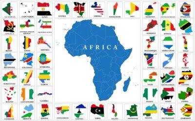Vinilo Mapa de la bandera de los países africanos