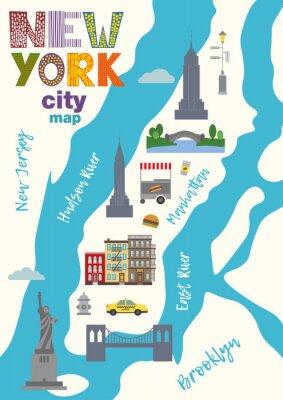 Vinilo Mapa de la ciudad de Manhattan de la ciudad de Nueva York