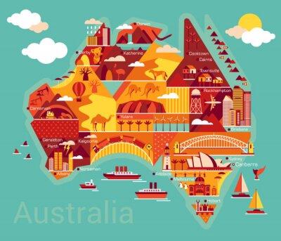 Vinilo Mapa de la historieta de Australia