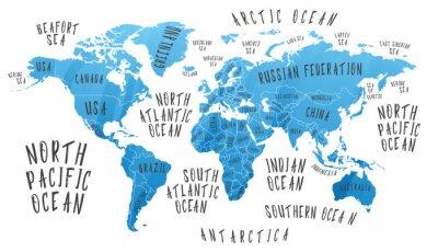 Vinilo Mapa de la Tierra con el nombre de los países