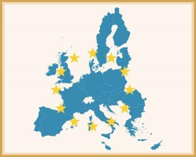 Vinilo Mapa de la vendimia de la Unión Europea con la bandera de la UE
