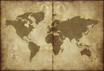 Vinilo mapa de papel pergamino viejo mundo