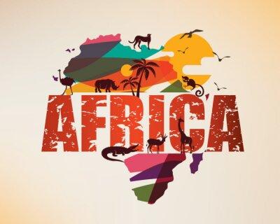 Vinilo Mapa de viaje de África, símbolo decorativo del continente africano con siluetas de animales salvajes