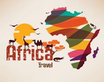 Vinilo Mapa de viajes de África, símbolo decrativo del continente africano con eth