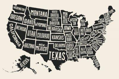 Vinilo Mapa del cartel de los Estados Unidos de América con los nombres del estado. Mapa blanco y negro de la impresión de los EEUU para la camiseta, el cartel o los temas geográficos. Mapa negro dibujado a