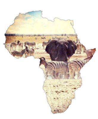 Vinilo Mapa del concepto de continente africano, safari en waterhole con elefantes