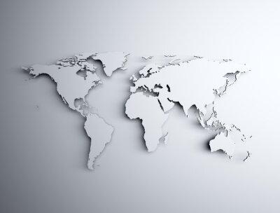 Vinilo Mapa del mundo 3D