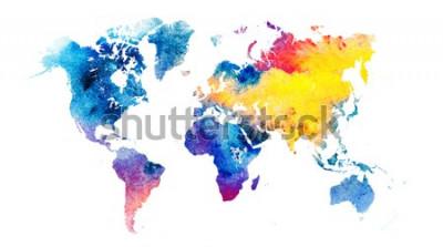Vinilo Mapa del mundo colorido acuarela.