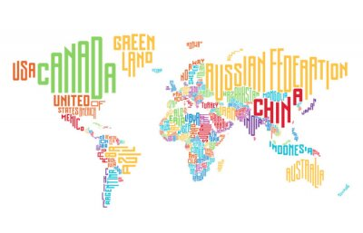 Vinilo Mapa del mundo compuesto por nombres de países tipográficos