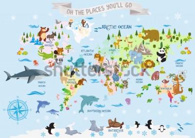 Vinilo Mapa del mundo con animales / Oh, los lugares a los que irás