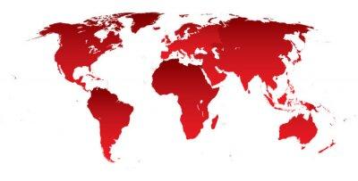Vinilo Mapa del mundo continentes rojos