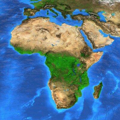 Vinilo Mapa del mundo de alta resolución centrado en África