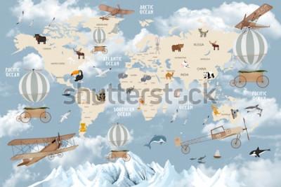 Vinilo Mapa del mundo de animales para el diseño de papel tapiz de niños