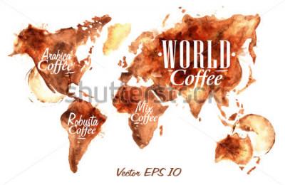 Vinilo Mapa del mundo de escritura café vierta con la inscripción árabe, robusta, mezcla con salpicaduras y blots impresiones taza.
