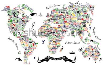 Vinilo Mapa del mundo de la tipografía. Cartel de viajes con ciudades y atracciones turísticas. Ilustración inspirada del vector.