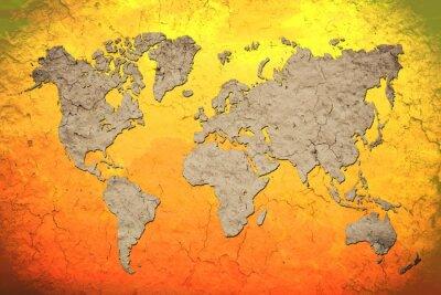 Vinilo mapa del mundo de la vendimia con el fondo rojo