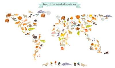 Vinilo Mapa del mundo de los animales. Aislados en fondo blanco ilustración vectorial. Educación